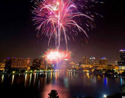 downtown Orlando Lake Eola fireworks
